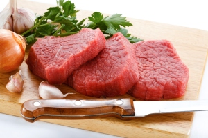 Fresh raw beef on cutting board red meat