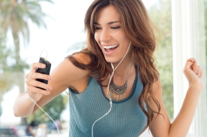 young latina hispanic woman music smiling