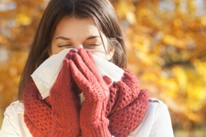 sick woman common cold illness