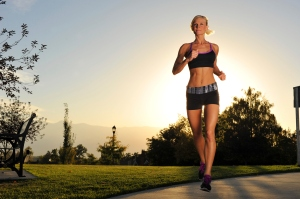 woman jogging exercise blonde young