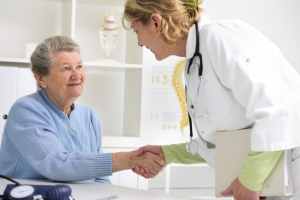Doctor and patient meeting handshake greeting