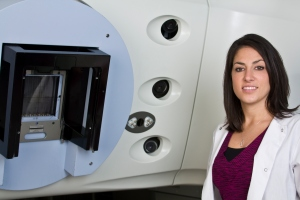 radiation therapist with linear accelerator cancer treatment