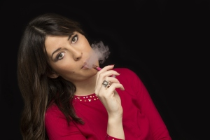 woman smoking e-cigarette pretty